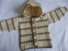 This is my next project- I am making this sweater for someone who asked me to crochet a baby sweater for a baby boy- I think I will do one less button- these seem crowded and I am going to do light blue with blue/grey stripes. :)