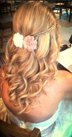 Wedding hair all down curls