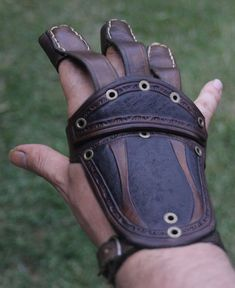Genuine leather tooled archery glove by PeterHaynesLeather on Etsy
