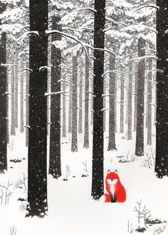 Baubauhaus. Reminds me of the tree stands near my folks' house in Northern VT, complete with critter. Forest Illustration, Winter Illustration, Children's Book Illustration, The Snow, Winter Art, Winter Snow, Winter Trees, Red Fox, Fox Art