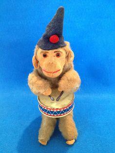 Vintage Drumming Monkey Tin Toy Wind-Up