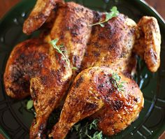 Spatchcocked Chicken. This looks so good and it's done in 45 minutes.