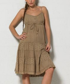 Love this Coline USA Beige Button-Front Sleeveless Dress - Women by Coline USA on #zulily! #zulilyfinds