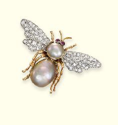 Probably late A NATURAL PEARL AND DIAMOND BEE BROOCH The body set with two natural abalone pearls weighing and carats and grains) to the pavé-set diamond wings and cabochon ruby eyes, cm wide Bee Jewelry, Insect Jewelry, Animal Jewelry, Pearl Jewelry, Jewelry Art, Antique Jewelry, Jewelery, Vintage Jewelry, Jewelry Design