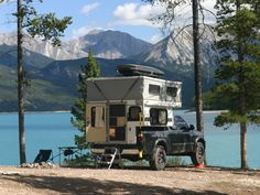 van-life: Model: Nick and Laura'sToyota Truck with a Four Wheel Camper Location: Abraham Lake, Alberta (Yesterday) Photo by Matt McAdow: OVRLND. Pop Up Truck Campers, Pickup Camper, Cool Campers, Truck Camping, Camping And Hiking, Camping Life, Camper Van, Pick Up, Buying An Rv