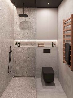 Penthouse Interior Design With Orange Accents Bright orange home accents add vibrancy to a seriously sophisticated decor scheme of dark wood slat walls & grey decor - all lit by a cosy home lighting scheme. Modern Bathroom Design, Bathroom Interior Design, Bath Design, Toilet And Bathroom Design, Modern Toilet Design, Small Toilet Design, Washroom Design, Modern Bathroom Lighting, Bedroom Lighting