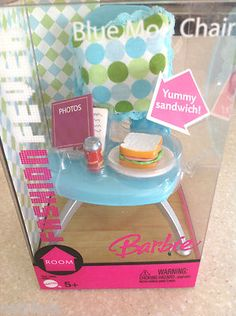 Super cute, I dig this stuff: Barbie Doll Fashion Fever Blue Mod Chair Food Furniture New 2005 Retired Set