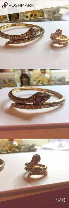 BCBG Snake Bracelet and Ring Set Beautiful matching snake bangle and ring set! Ring is size 7. Good condition! BCBG Jewelry Bracelets