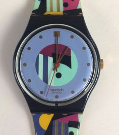 "Swatch Watch ""Gold Inlay"" 1991 Originals Gent GB141 [WORKING CONDITION]"