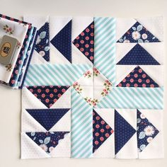 In I signed up for the Fat Quarter Shop's Designer Mystery BOM. It used Vintage Modern fabric, so why wouldn't I? And I enjoyed the program – you got plenty of extra fabric, and the blocks Cute Quilts, Scrappy Quilts, Mini Quilts, Patchwork Quilting, Quilt Block Patterns, Pattern Blocks, Fat Quarter Quilt Patterns, Modern Quilt Blocks, Modern Quilting