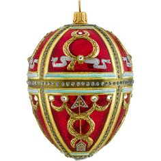 glitterazzi red russian egg polish glass christmas tree ornament made in poland