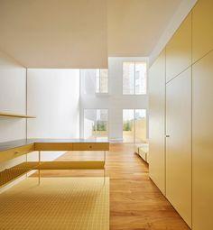 All Yellow Duplex in Barcelona, Apartment Interior by Arquitectura-G, Photo Jose Hevia Duplex Apartment, Apartment Renovation, Apartment Interior, Matt Barr, Barcelona Apartment, Floor Slab, Yellow Tile, Shared Bathroom, Residential Interior Design