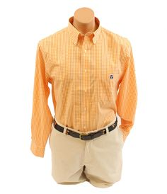 Volunteer Traditions Orange/White Gingham Button-down W/Tristar Logo –This Volunteer Traditions Orange/White Gingham Button-down will be turning heads at all the games! It's classy Game Day Attire at its best! Find this at tyalexanders.com