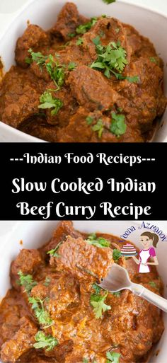 This slow cooked Indian beef curry is simple, easy and flavorful. The meat is so tender it almost melts in the mouth. Weather you cook on the stove top for two hours or in a slow cooker for 4 hours you will be greeted with the aromas of sweet Indian spices and freshness of herbs via @veenaazmanov Slow cooker recipe, Indian recipe, Beef recipe, slow cooker Indian beef recipe, Indian cooking, slow cooker beef, Best Indian curry