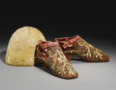 Pair of Ottoman silver-Gilt and embroidered velvet lady's boots and silk cap, Turkey, 19th century
