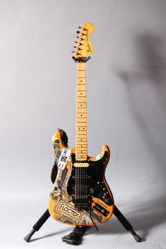 "Steve Vai's Fender Strat Natural Finish W/Floyd Rose & Custom Switching ""Sticker Strat"""