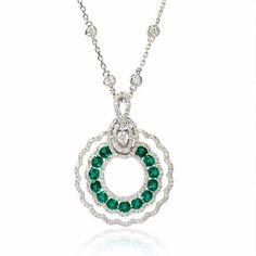 Diamond and Emerald 18k White Gold Pendant