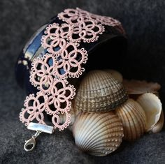 Pastel pink bracelet - lace made using shuttle tatting technique. Available in littleblacklace shop on Etsy. Tatting Bracelet, Tatting Earrings, Lace Bracelet, Tatting Jewelry, Needle Tatting, Tatting Lace, Crochet Cross, Irish Crochet, Shuttle Tatting Patterns