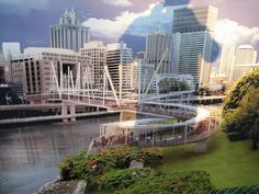 The Kurilpa Bridge ~a  pedestrian and bicycle bridge over the Brisbane River in Brisbane, Queensland, Australia ~