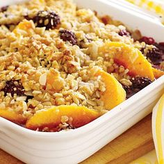 This peach and blackberry crumble is the PERFECT summer fruit dessert.