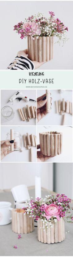 Diy Vase aus Holz selber machen. Upcycling. Dekoration basteln. Einfache und kreative Bastelanleitung. Geschenkidee für den Frühling.