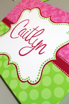 16x20 Pink and Lime Green Polka Dot/Damask Name Canvas by KraftinMommy