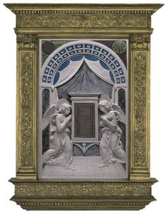 Workshop of Andrea della Robbia, Tabernacle, 1470s, glazed terracotta, overall: 78 x 48 cm (30 11/16 x 18 7/8 in.), Isabella Stewart Gardner Museum, Boston.