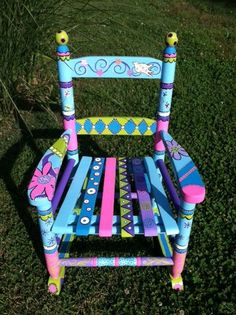 DIY,Repurposed,Before Creative Upcycled Furniture; DIY,Repurposed,Before And furniture colors furnitu Painted Kids Chairs, Painted Rocking Chairs, Whimsical Painted Furniture, Painted Stools, Childrens Rocking Chairs, Hand Painted Furniture, Recycled Furniture, Colorful Furniture, Art Furniture