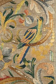 Rose Uniacke | Silk Embroidered 'Panes' Italian, circa 1700