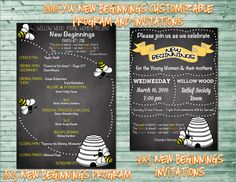 2016 New Beginnings Program and Invites - Purchase at amysbasketdesigns.etsy.com