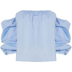 Bardot Off Shoulder Crop Top (€70) ❤ liked on Polyvore featuring tops, shirts, light blue, women, off shoulder shirt, crop top, cotton crop top, cut-out crop tops and crop shirt