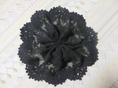 Handmade Black Embroidered Tulle Lace Doily Head Cover with