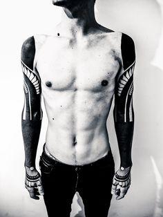 Finally Finished my sleeves. Tattoo artist: Alex Arnautov, a3metric studio (a3metric.com)  http://instagram.com/p/rcaELViwo0/ — Sacred Geometry, Blackwork, Tattoo, Symmetry Sleeves