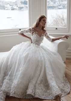 Floral Applique Quarter Length Sleeve Ballgown Wedding Dress