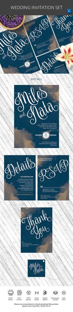 Wedding Invitation — Photoshop PSD #birthday #lamp • Available here → https://graphicriver.net/item/wedding-invitation/17387122?ref=pxcr