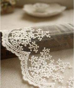 White Embroidery Lace Trim Lace Cotton Embroidery by JolinTsai