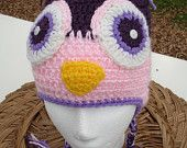 Owl Hat Crochet Earflap Beanie, sizes from children to adult