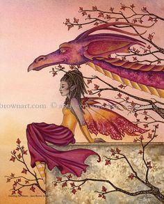 Greeting The Dawn dragon fairy 8X10 PRINT by Amy by AmyBrownArt