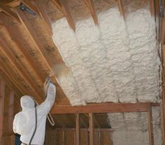 Spray foam building insulation systems offer significant reductions to your power costs. Blown In Insulation, Home Insulation, Spray Foam Insulation, Insulation Types, Attic House, Attic Rooms, Attic Floor, Attic Apartment, Attic Bathroom