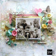 Happy Memories by Bec Genet, featuring Scrap FX chipboard: Heartscrawl, Love keys, Happy Memories mini word, and heart confetti stencil and doily stamp. www.scrapfx.com.au