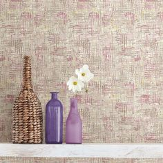 56.4 sq. ft. Avalon Pink Weave Wallpaper
