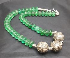 """Antique Hallmarked Silver Beads necklace with old Green glass """"vaseline beads 