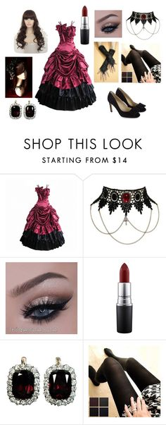 """Red and Black Victorian Gall Gown Outfit 2"" by vic3000 ❤ liked on Polyvore featuring beauty and MAC Cosmetics"