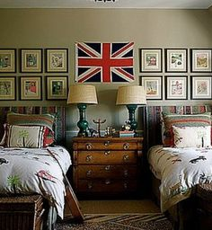 shared room with gallery artwork and flag