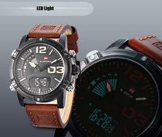 NAVIFORCE NF9095M Men Dual Movt Watch Luminous Calendar LED Light 3ATM Wristwatch