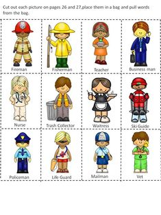 Community Helpers Bingo Game Elementary and Special Education Community Helpers Pictures, Community Helpers Preschool, Space Activities, Preschool Activities, Special Education Classroom, Physical Education, Health Education, Science Education, Helper Chart