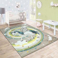 Paco Home Modern Short-Pile Childrens Rug Star Design Childrens Room Pastel Turquoise White Size:80x150 cm