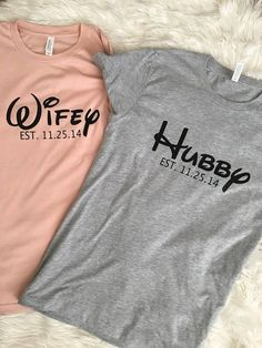 *Hubby Wifey Disney Inspired Shirts* **PLEASE READ** When ordering be sure to add in the note section: Color for each *If Color is not stated then Hubby Shirt will be in Athletic Heather (Grey) and Wifey in Heather Peach* (other colors available) EST date Disneyland Honeymoon, Disney Vacations, Disney Trips, Disney World Honeymoon, Disney Shirts, Disney Outfits, Disney Clothes, Couple Outfits, Plotter Silhouette Cameo