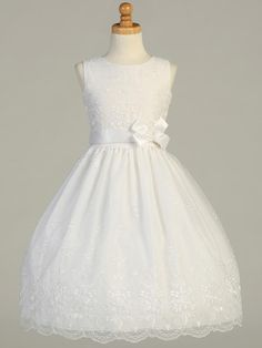 Girls First Communion Embroidered Organza Dress
