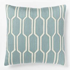Honeycomb Crewel Pillow Cover - Light Pool - $44 at West Elm ($12 for insert)